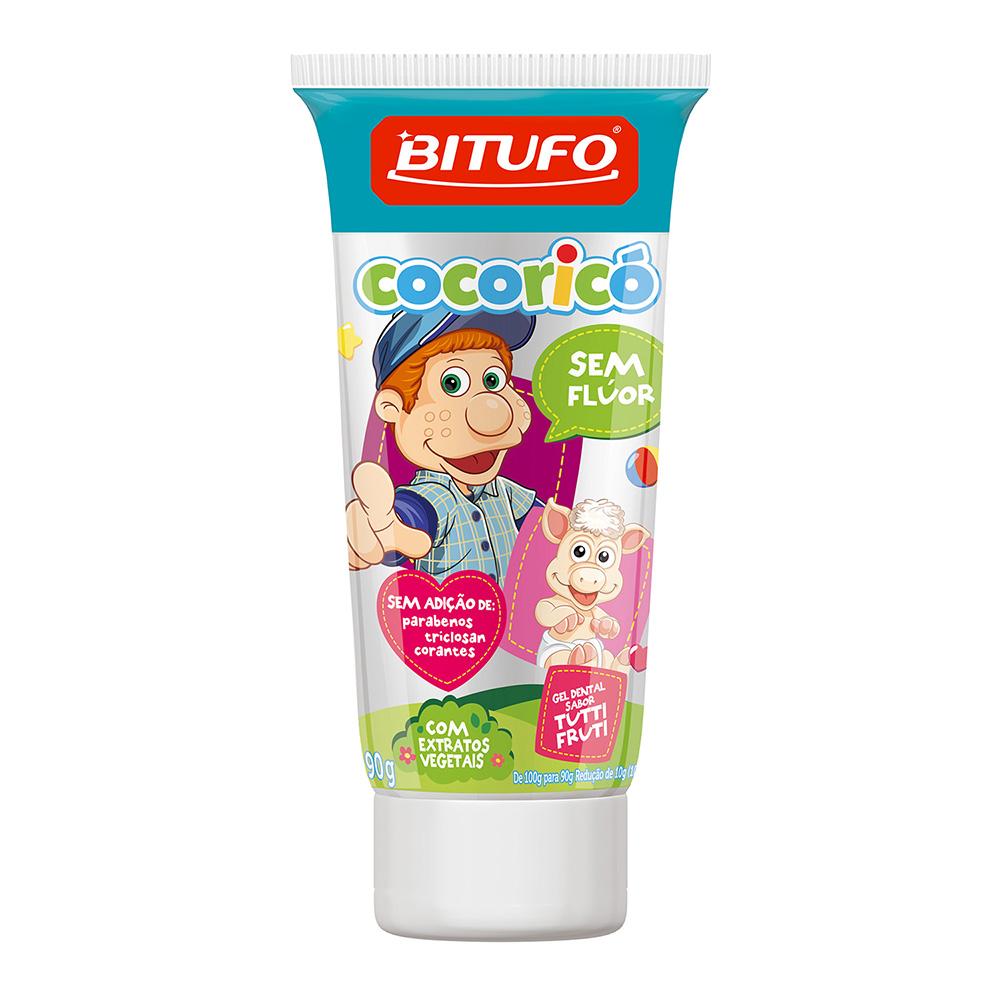 Gel Dental Bitufo Cocoricó Sem Flúor Sabor Tutti-Frutti 90g